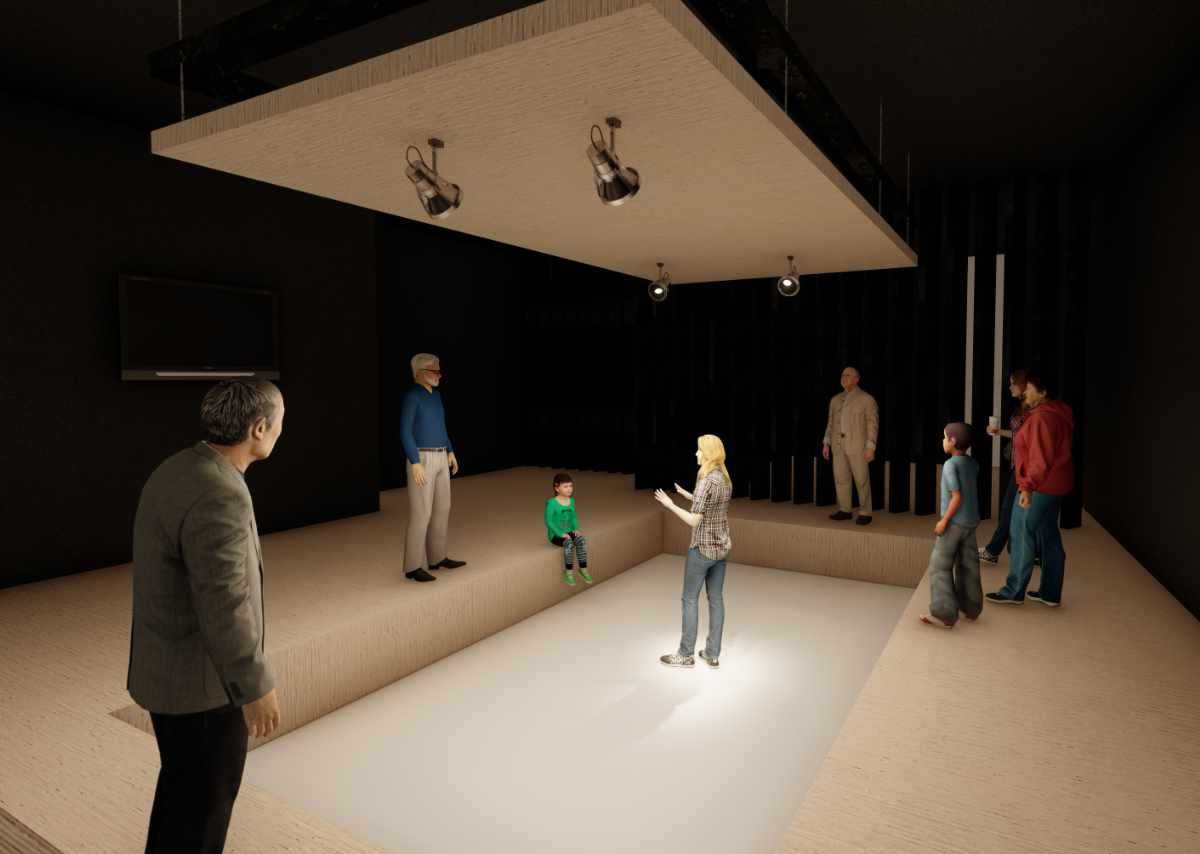 An artists impression of the purple door performance space, with a sunken pit and people stood around the sides watching